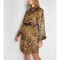 Gini London Brown Leopard Print Long Puff Sleeve Dress New Look