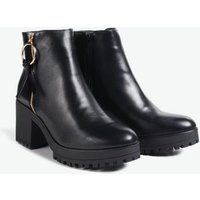 Black Ring Pull Zip Chunky Heeled Boots New Look