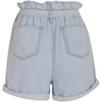 Pale Blue Denim High Tie Waist Shorts New Look