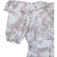 Cameo Rose Light Grey Tie Dye Bardot Playsuit New Look