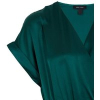 Dark Green Satin Belted Pleated Wrap Maxi Dress New Look