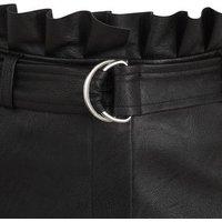 Black Leather-Look Pleated Skirt New Look