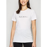 White No Place Like Home Slogan T-Shirt New Look