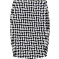 Black Jacquard Dogtooth Check Mini Tube Skirt New Look