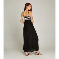 Apricot Black Crochet Stripe Maxi Dress New Look