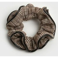 Brown Check Leather-Look Trim Ruffle Scrunchie New Look