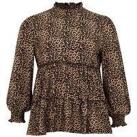 Blue Vanilla Curves Brown Leopard Print Tiered Top New Look