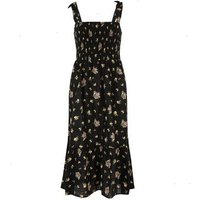 Black Floral Square Neck Tiered Midi Dress New Look