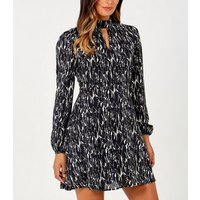 Blue Vanilla Black Animal Choker Neck Mini Dress New Look