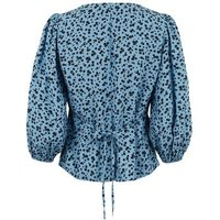 Blue Ditsy Floral Button Up Tea Blouse New Look