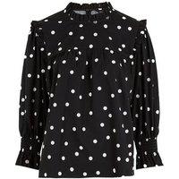 Black Poplin Spot Frill Trim Puff Sleeve Blouse New Look
