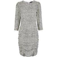 Tall White Spot Print Ruched Mini Dress New Look