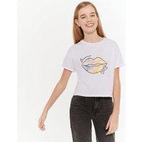 Girls White Tie Dye Lips Slogan T-Shirt New Look
