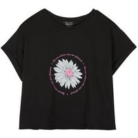 Girls Black Daisy Bloom Slogan T-Shirt New Look