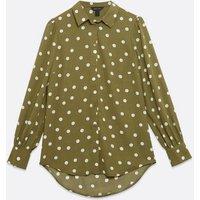 Olive Spot Button Up Long Shirt New Look