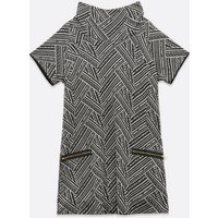 Mela Curves Light Grey Stripe Cowl Neck Dress New Look