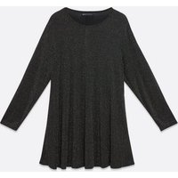 Mela Curves Silver Glitter Tunic Dress New Look