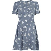 Pale Blue Floral Spot Print Tea Dress New Look