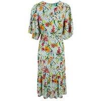 Mint Green Floral Tiered Midi Dress New Look