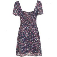 Blue Ditsy Floral Chiffon Tie Front Tea Dress New Look