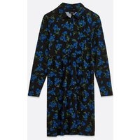 Maternity Black Floral Soft Touch Shirt Dress New Look