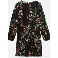 Maternity Black Floral Soft Touch Empire Mini Dress New Look