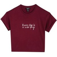 Girls Burgundy Every Day Slogan T-Shirt New Look