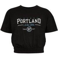 Girls Black Shirred Hem Portland Logo T-Shirt New Look