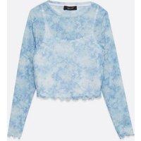Girls Pale Blue Tie Dye Mesh Top New Look