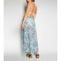 Wolf & Whistle Blue Jewel Print Midi Beach Skirt New Look