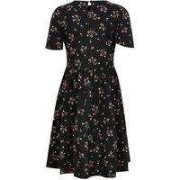 Girls Black Floral Short Sleeve Skater Dress New Look