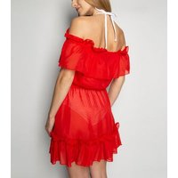 Wolf and Whistle Red Chiffon Frill Beach Cover Up New Look
