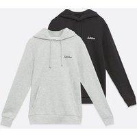 Men's Jack & Jones 2 Pack Black and Grey Logo Hoodies New Look