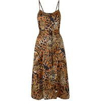 Brown Mixed Animal Print Strappy Midi Dress New Look