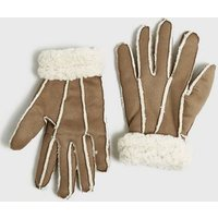 Tan Faux Shearling Gloves New Look