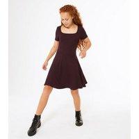 Girls Burgundy Ribbed Square Neck Skater Dress New Look