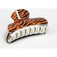 Brown Tiger Print Bulldog Clip New Look