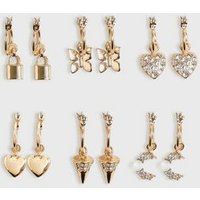 6 Pack Gold Mixed Charm Mini Hoop Earrings New Look