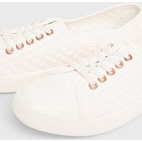 White Quilted Leather-Look Trainers New Look Vegan