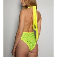 Wolf & Whistle Yellow Neon Diamante Plunge Swimsuit New Look