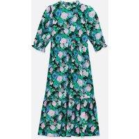 Blue Floral Smock Midi Dress New Look
