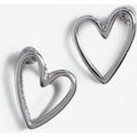 Silver Sketch Heart Stud Earrings New Look