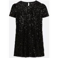 Mela Curves Black Sequin Shift Dress New Look