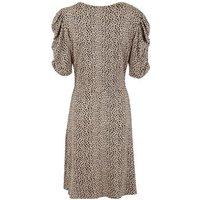 Tall Brown Leopard Jacquard Puff Sleeve Dress New Look