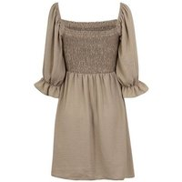 Pale Pink Shirred Square Neck Puff Sleeve Dress New Look