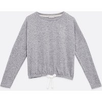 Pale Grey Heart Diamante Lounge Sweatshirt New Look