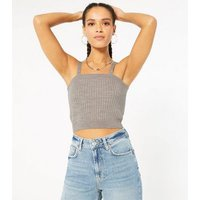 Petite Stone Ribbed Knit Bralette New Look