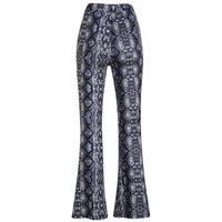 Blue Snake Print Flared Trousers New Look