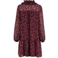 Purple Floral Chiffon Frill Smock Dress New Look
