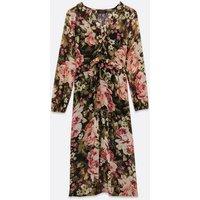 Black Floral Chiffon Ruffle Midi Dress New Look